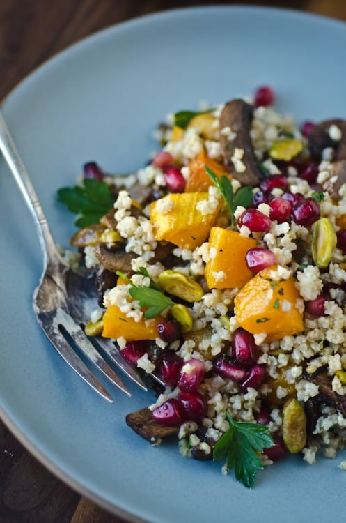 millet pilaf with butternut squash, mushrooms and pomegranate