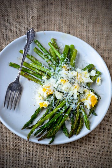 scaling back - asparagus with egg and parmesan
