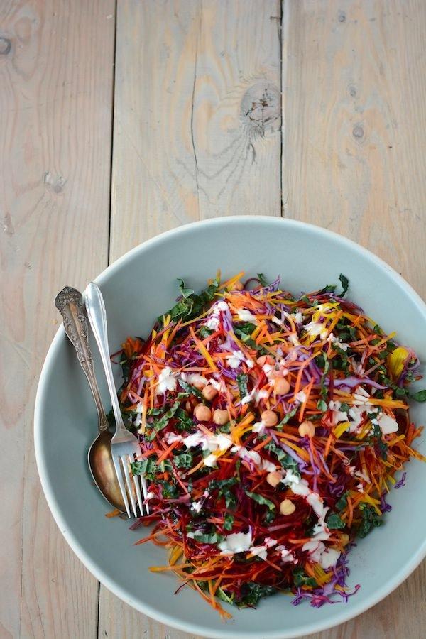 shredded rainbow salad with greek yogurt caesar dressing - www.scalingbackblog.com