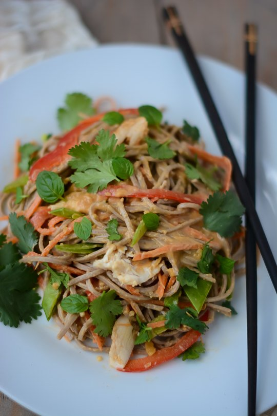 Spicy chicken peanut soba noodle salad Scaling Back