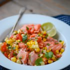 grilled salmon and corn salad - www.scalingbackblog.com