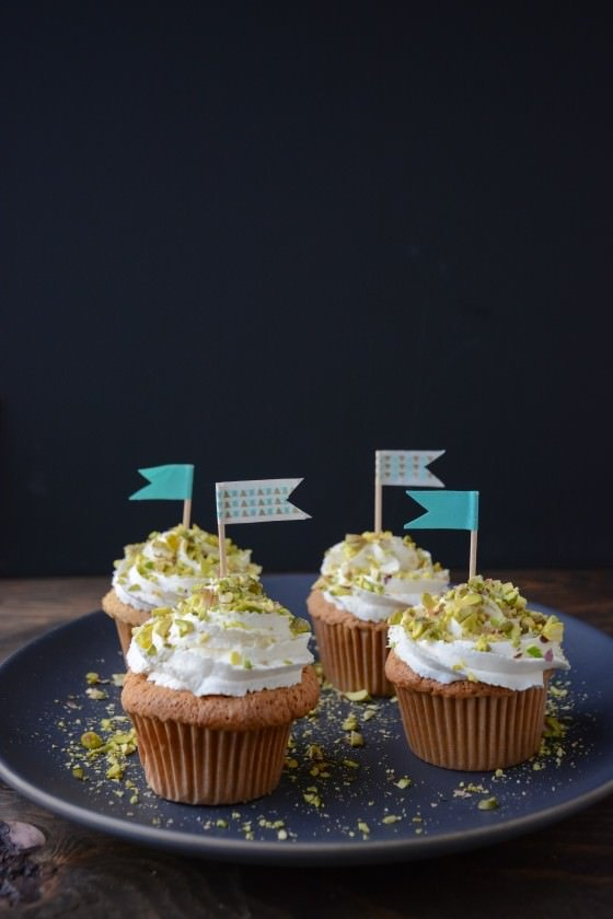 pistachio cupcakes with honey whipped cream | scaling back