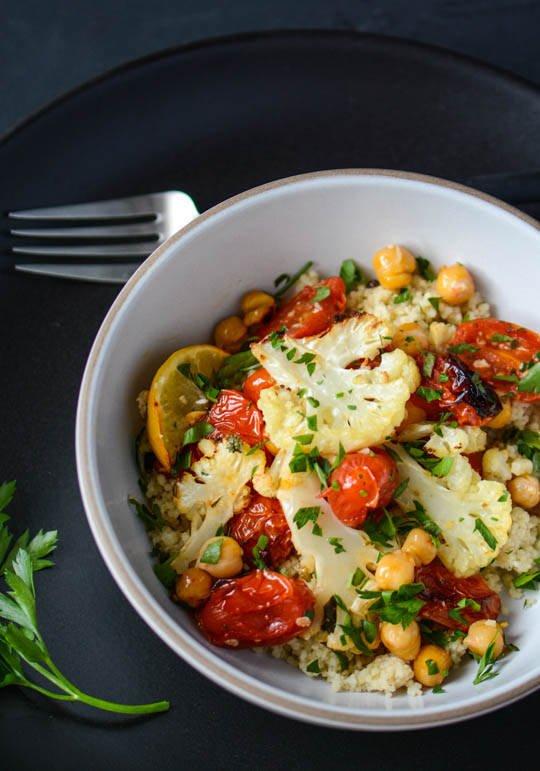 Roasted cauliflower, tomato and chickpea bowl   scaling back