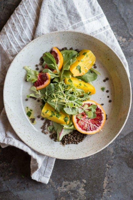 golden beet and lentil salad