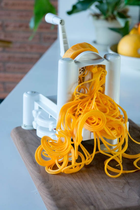 Butternut squash noodles with tahini sauce