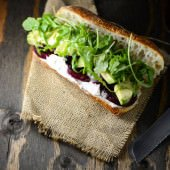 roasted beet, avocado and goat cheese sandwich