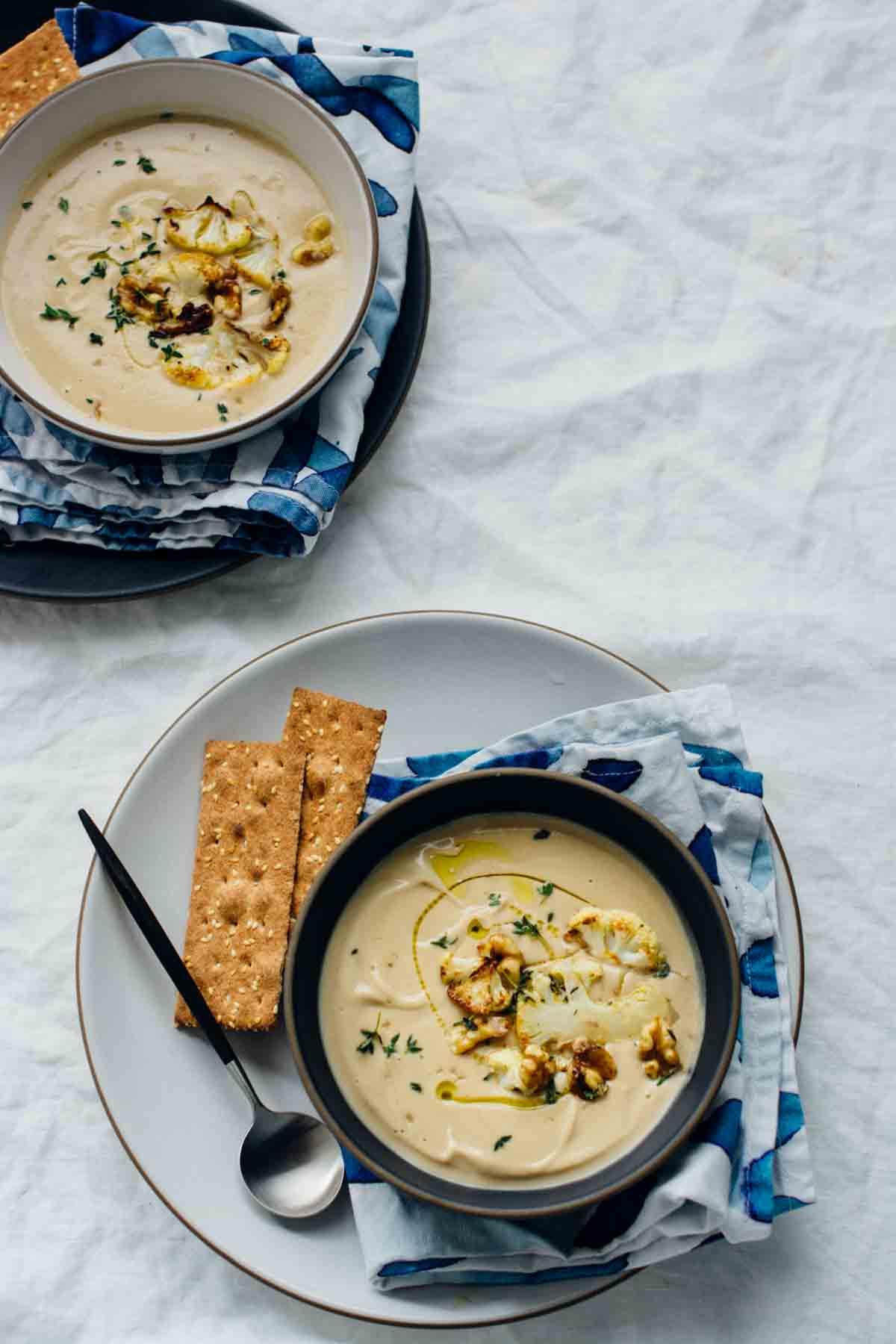 Roasted Cauliflower Miso Soup, 30 minute dairy-free soup   www.scalingbackblog.com