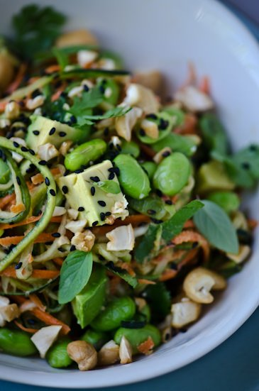 scaling back Thai peanut zucchini noodles