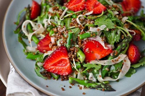 scaling back blog - strawberry asparagus quinoa salad