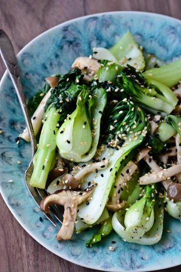 scaling back - sesame shitakes and bok choy
