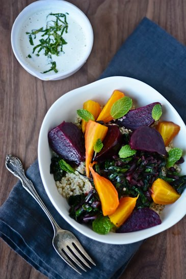 Day 14: roasted beet, quinoa and tahini bowl 30 days, 30 dishes - Scaling Back