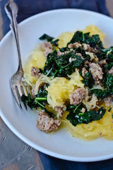 spaghetti squash with sausage and kale - Day 29 of my 30 day challenge - www.scalingbackblog.com