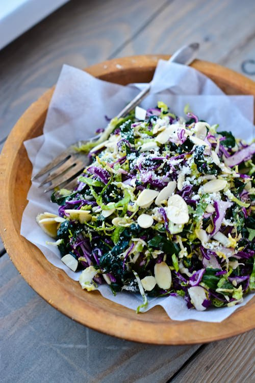 shredded kale and brussels sprout salad - www.scalingbackblog.com