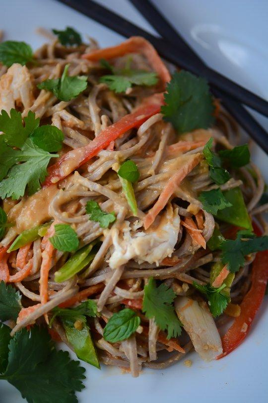 spicy peanut soba noodle salad - www.scalingbackblog.com