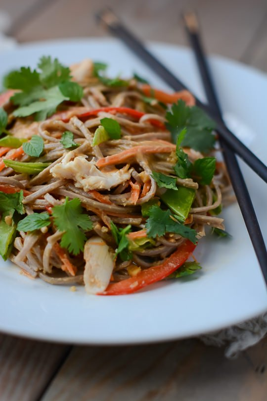 Spicy chicken peanut soba noodle salad | www.scalingbackblog.com