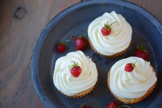 Greek yogurt strawberry cupcakes - www.scalingbackblog.com