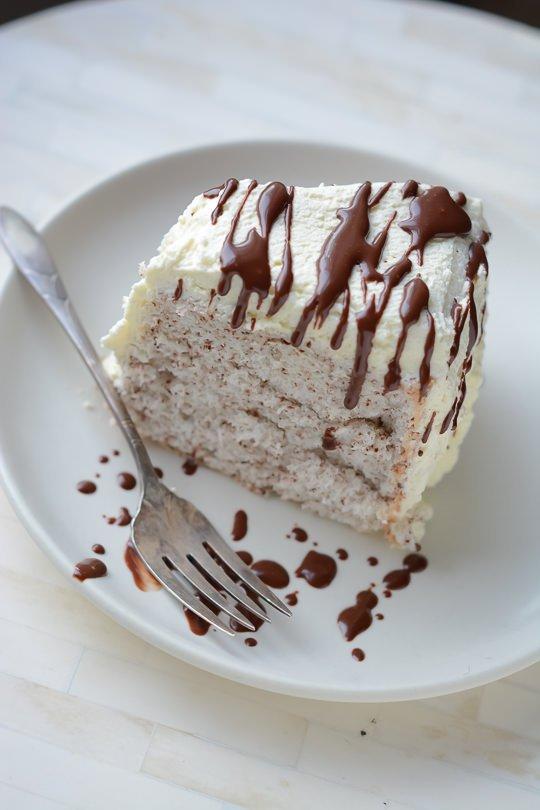 chocolate chip angel food cake - www.scalingbackblog.com