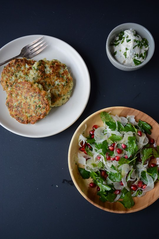 Cauliflower fritters with yogurt tahini sauce | scaling back