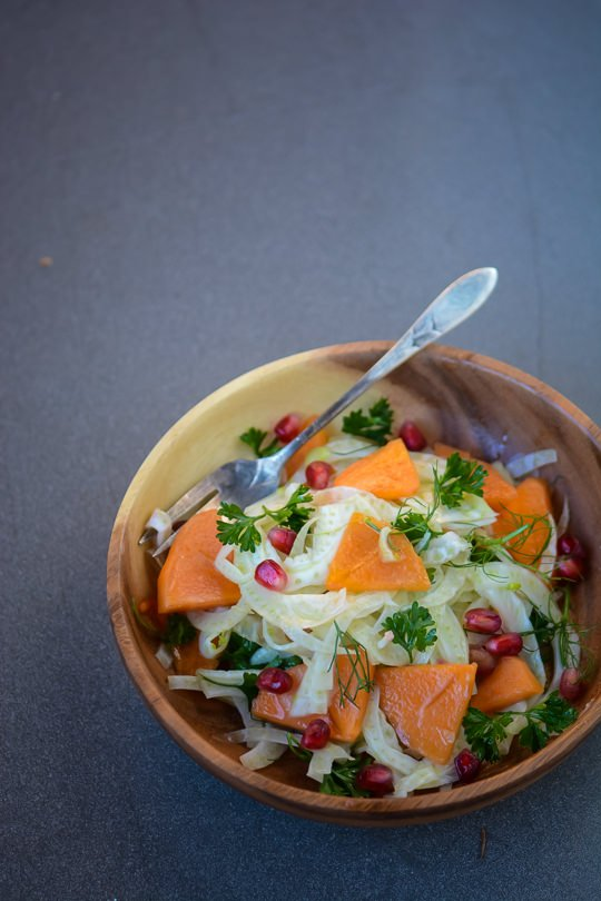 Make sure to add this Fuyu persimmon, fennel and pomegranate salad to your holiday table!