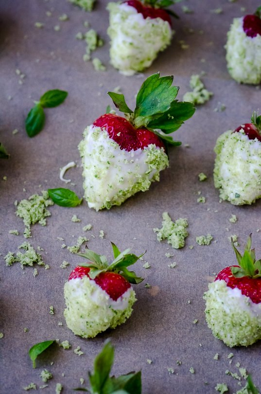 White Chocolate Dipped Strawberries with Basil Sugar