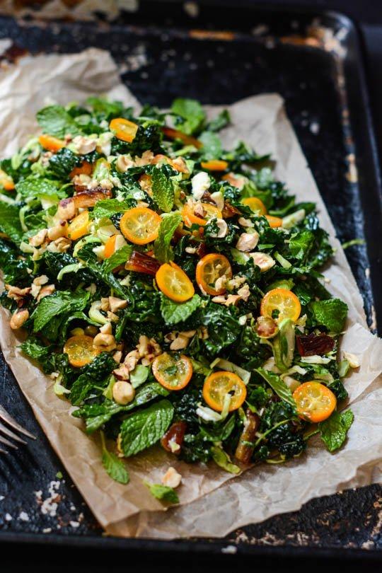 Winter green, date and kumquat salad