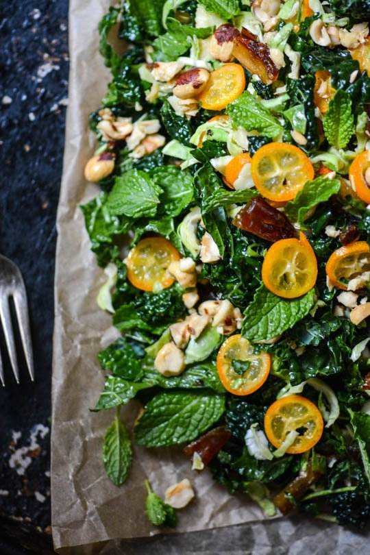 Winter green, date and kumquat salad