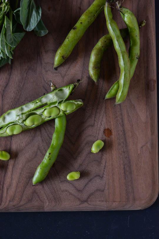 Fava bean and greens pasta