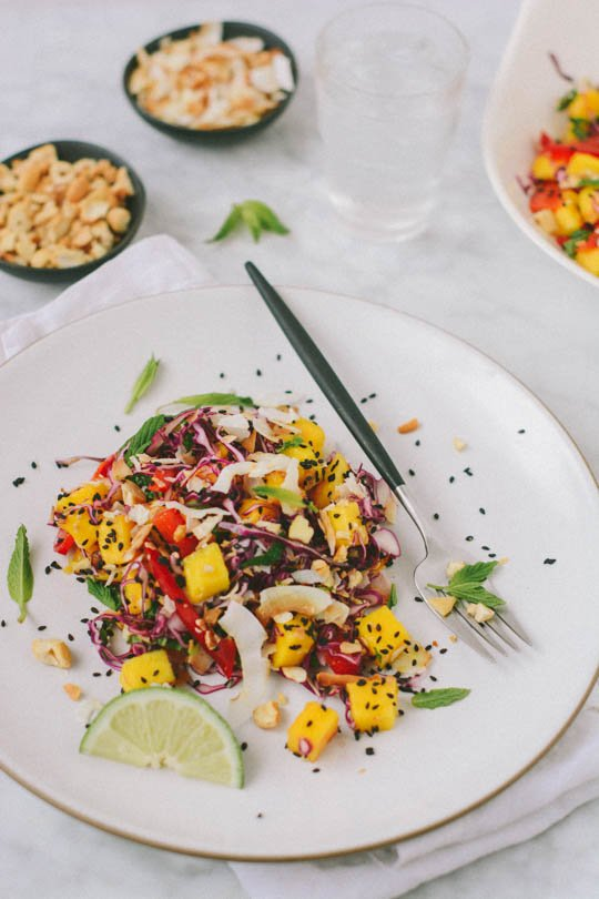 Tropical mango salad with mint and coconut