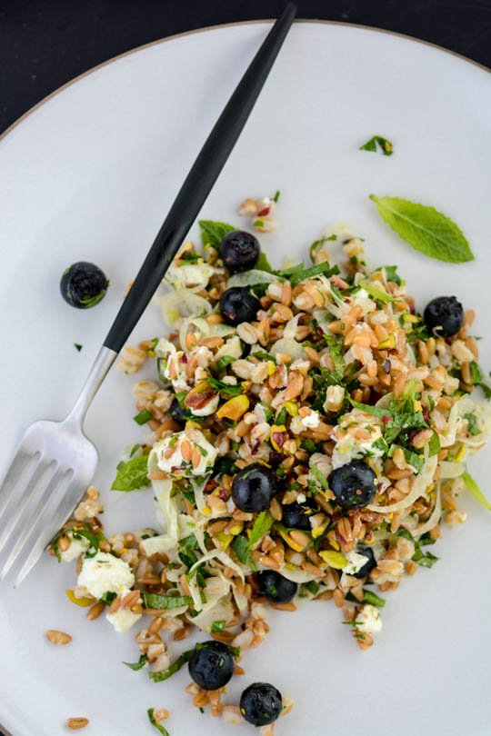 Pickled blueberry, farro and feta salad