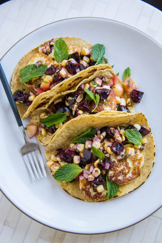 Halloumi tacos with dark cherry salsa