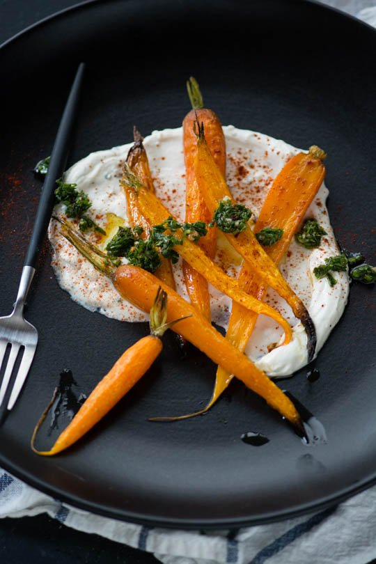 The whole carrot, and then some. Roasted carrots, carrot top chimichurri and yogurt tahini sauce..