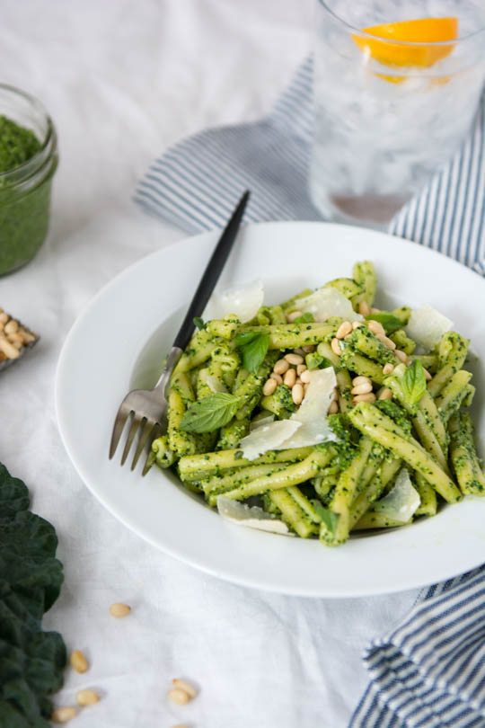 Kale and cashew pesto - prep a huge batch and your have quick dinners on hand all Fall long!