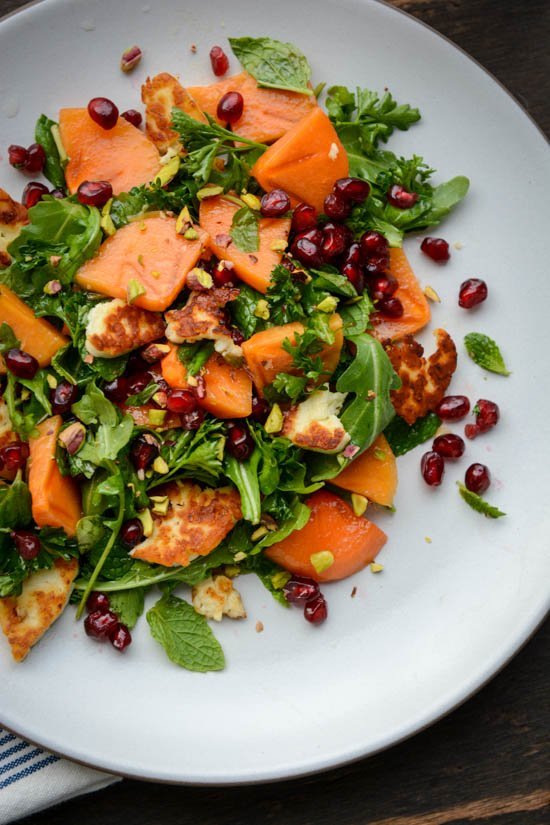 Winter persimmon, pomegranate and halloumi salad