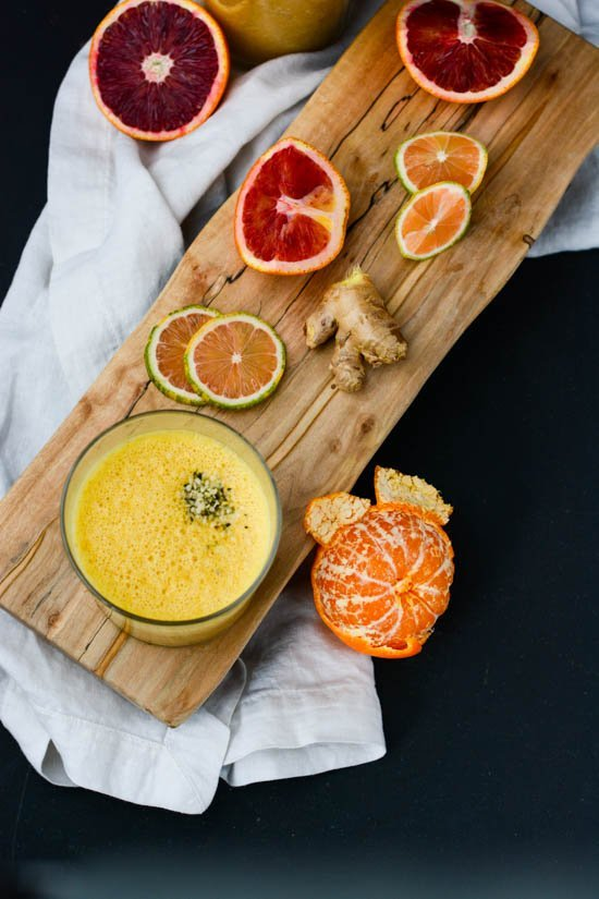 Sunrise Citrus Smoothie | Scaling Back tumeric, coconut butter and ginger give this smoothie a healthy boost!