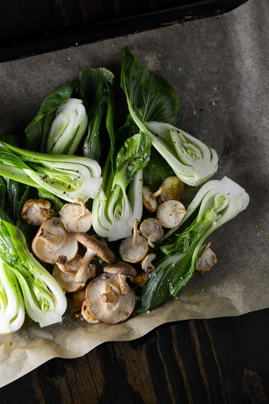 Roasted bok choy and shitakes - This is a perfect quick side dish to whip up or make it a complete meal my serving it over rice or noodles! www.scalingbackblog.com