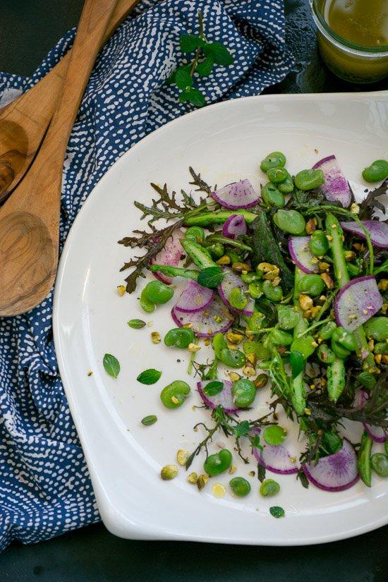 spring fava bean salad with tangerine vinaigrette | www.scalingbackblog.com
