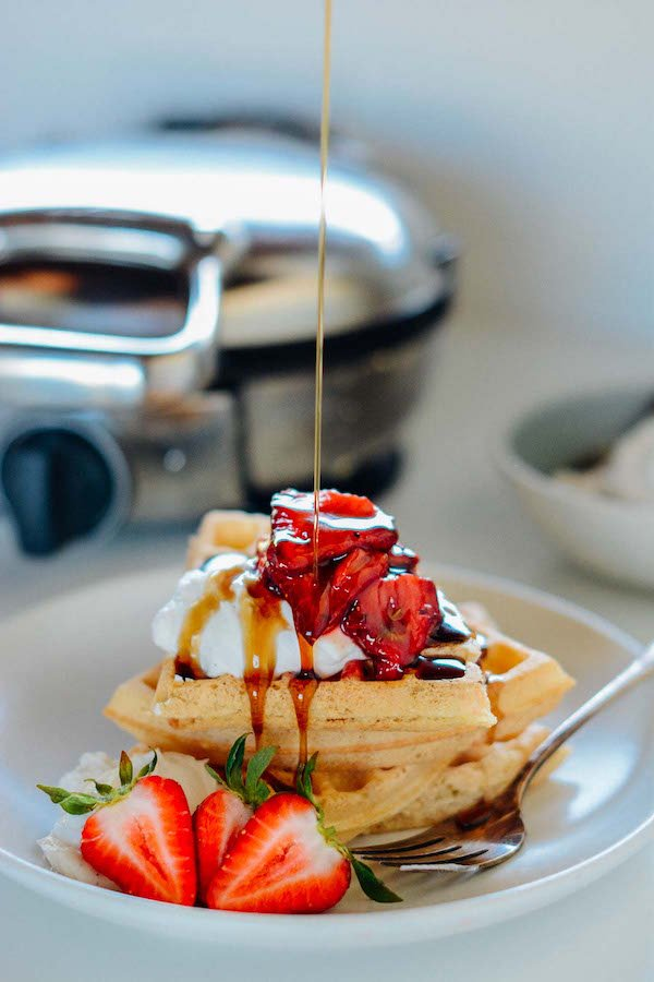 Spelt Waffles with Roasted Strawberries | Scaling Back