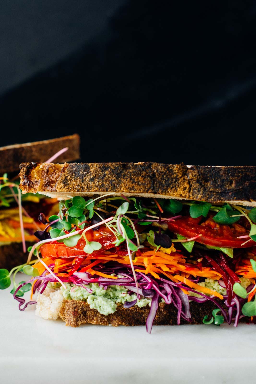ultimate rainbow veggie sandwich | www.scalingbackblog.com