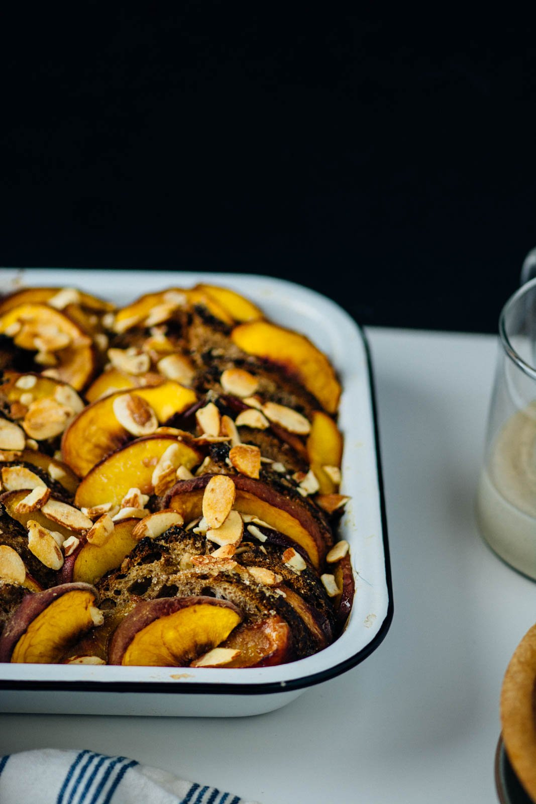 overnight peach french toast bake | www.scalingbackblog.com