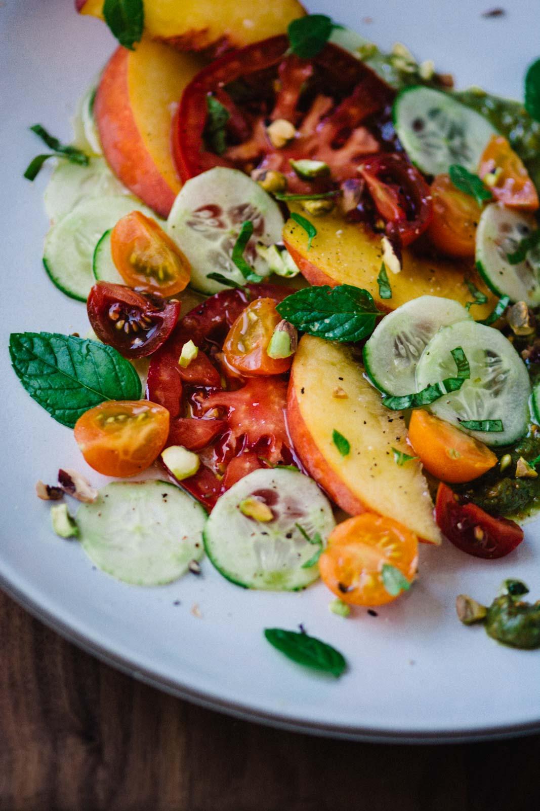 Heirloom tomato, peach and cucumber salad | www.scalingbackblog.com