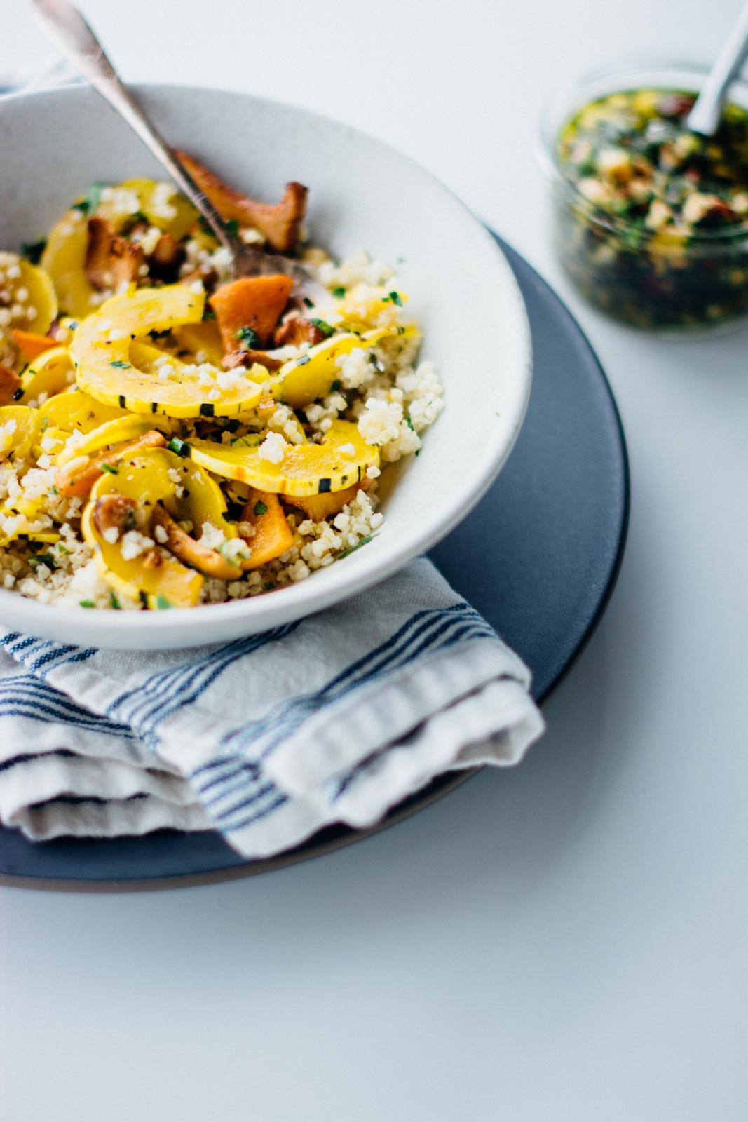 Winter delicata squash bowl with hazelnut gremolata, also makes a healthy stuffing substitute for your Thanksgiving table | www.scalingbackblog.com