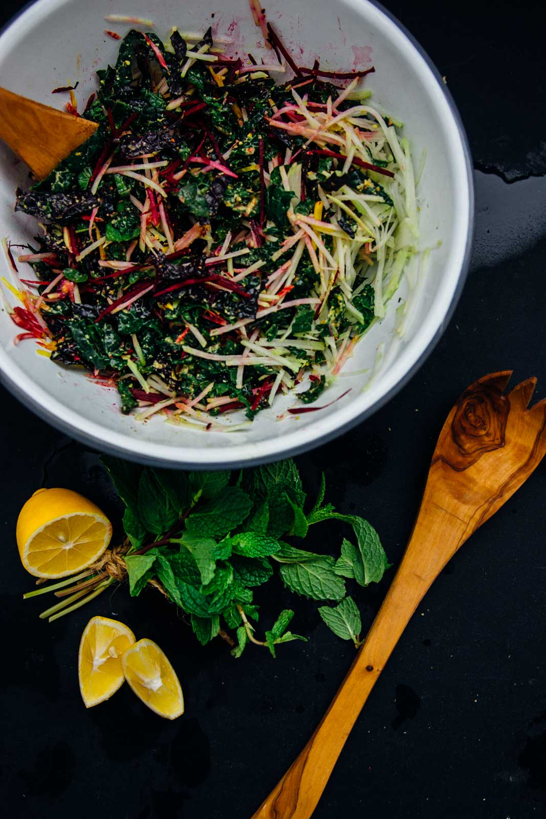 Winter detox shredded salad with pistachio dressing | www.scalingbackblog.com