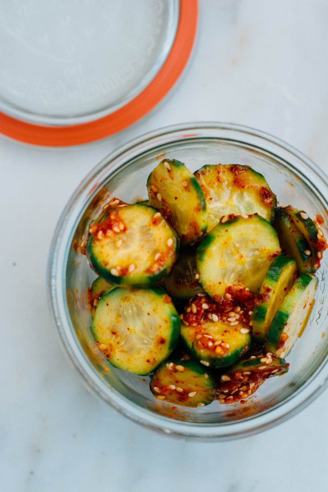 Quick Korean Spiced Cucumber Salad {New Year Reset Day 12} | www.scalingbackblog.com