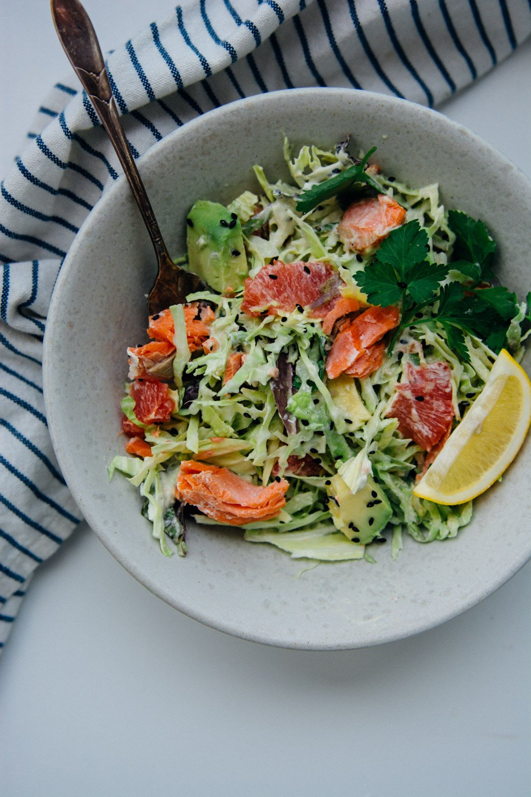 Pan Roasted Salmon With Citrus Cabbage Salad {NewYear Reset Day 22} | www.scalingbackblog.com