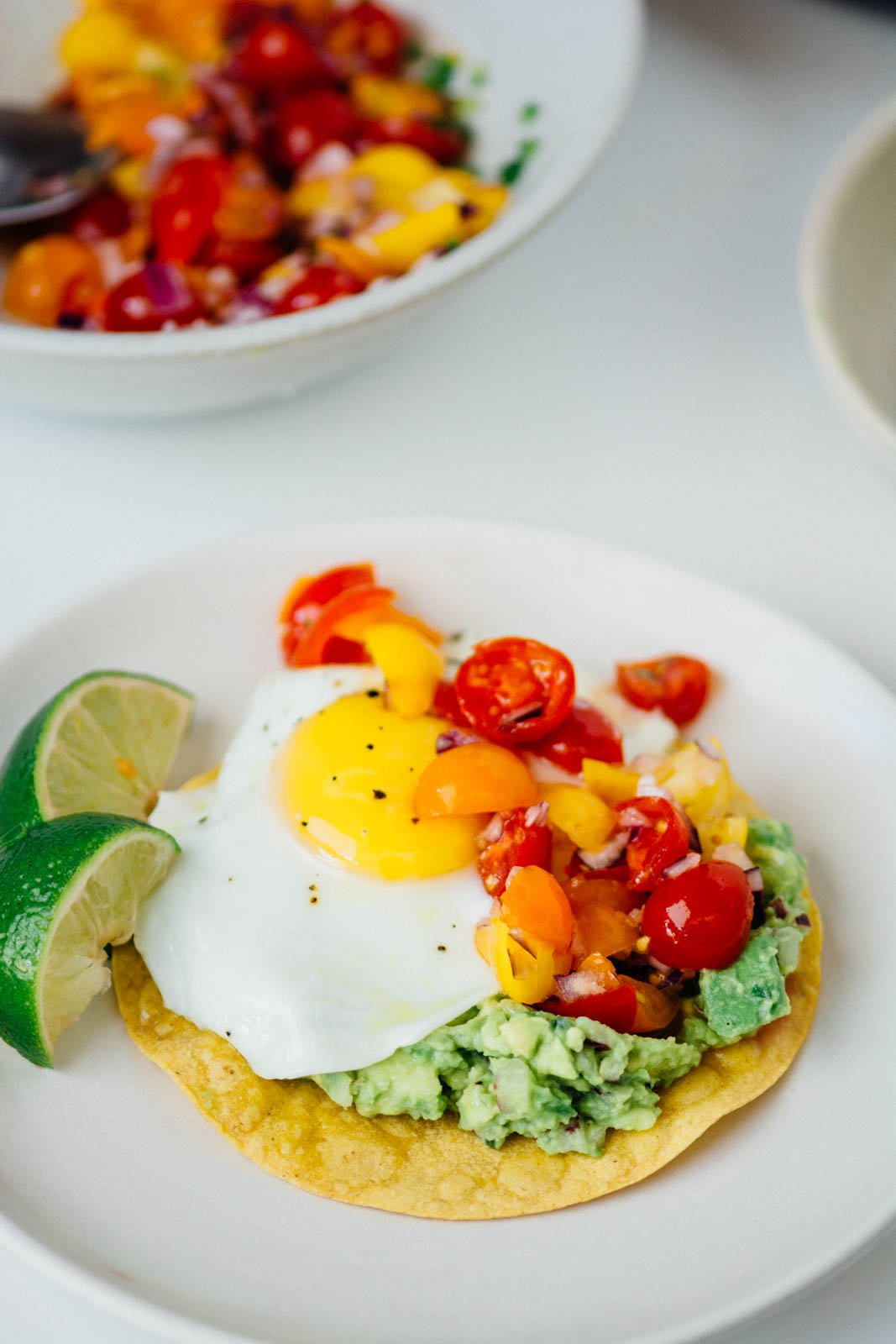 Avocado Breakfast Tostadas {New Year Reset Day 14 } | www.scalingbackblog.com