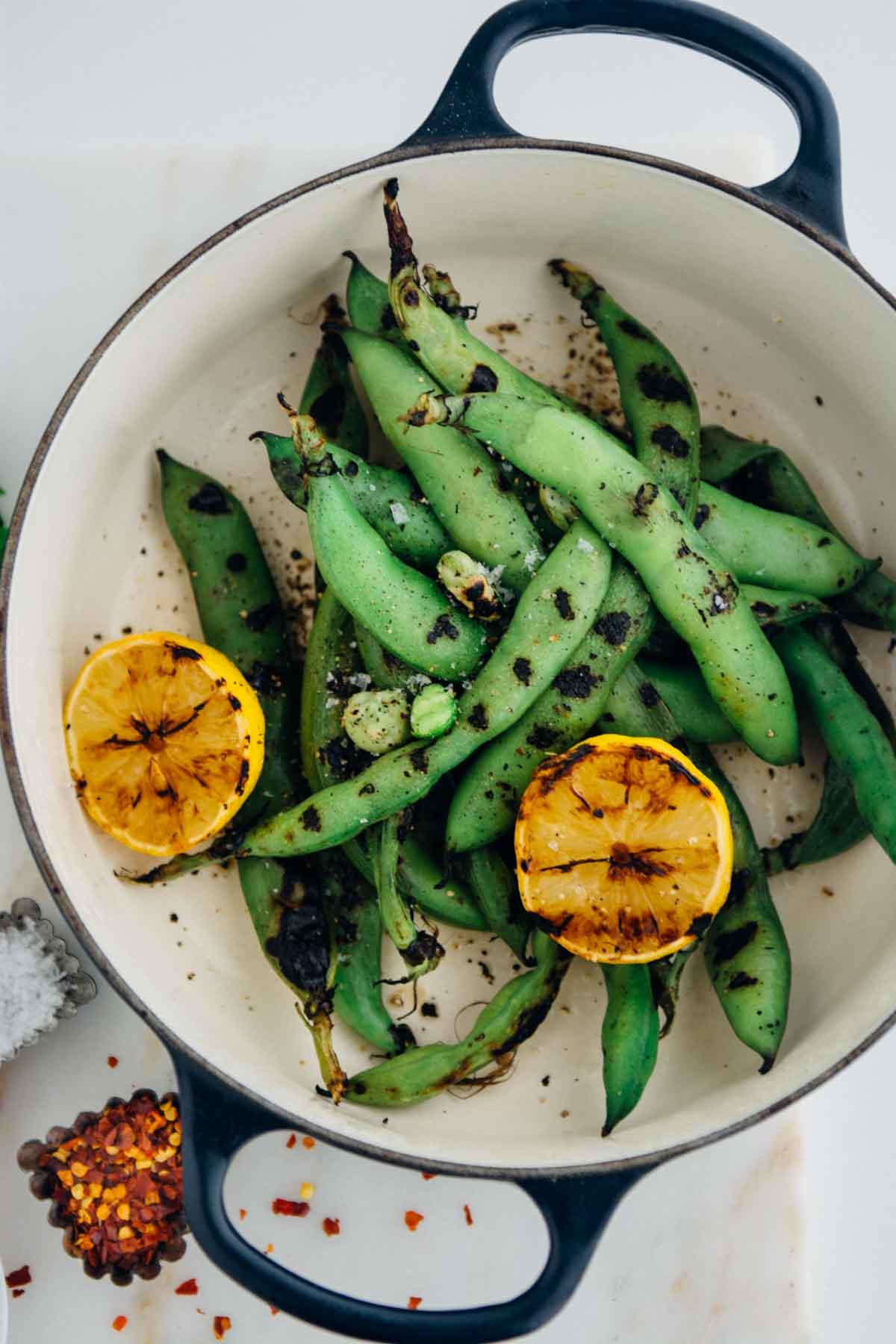 Grilled Fava Beans   www.scalingbackblog.com