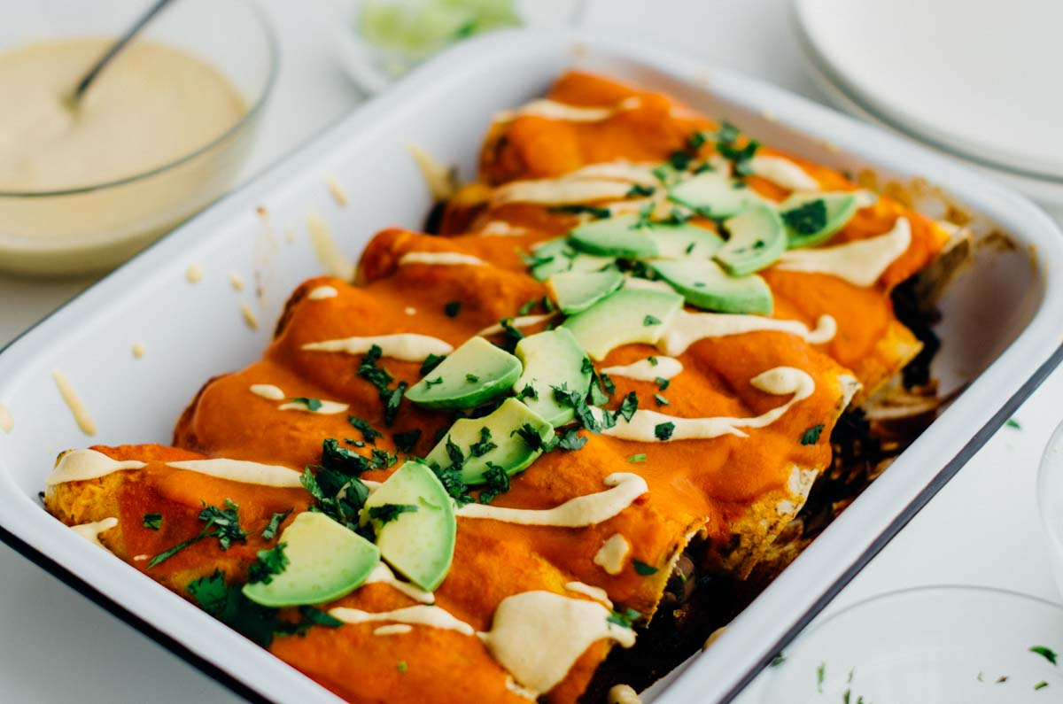 Smoky mushroom and kale enchiladas {vegan + gluten-free} | ww