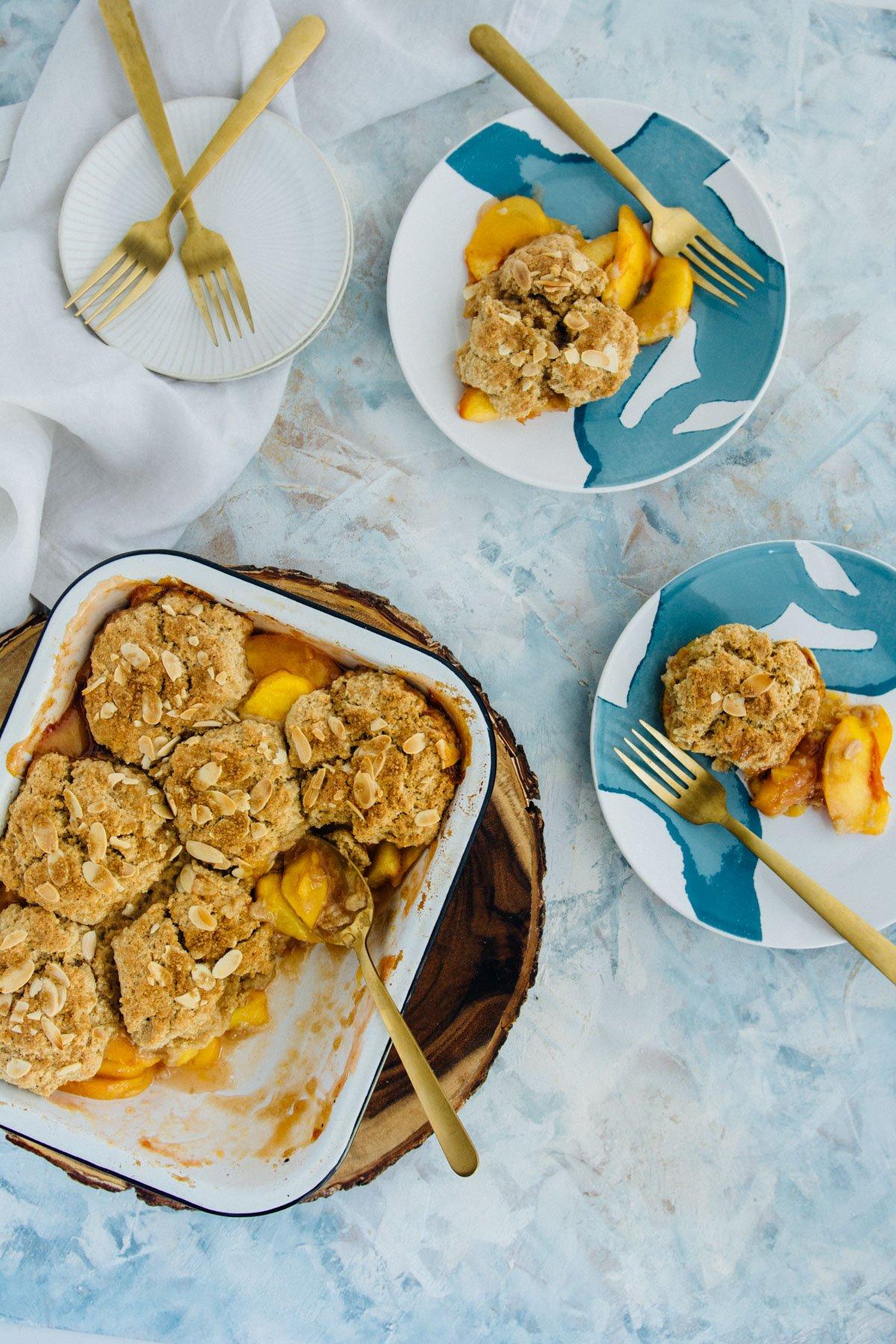 peachy keen almond cobbler | www.scalingbackblog.com