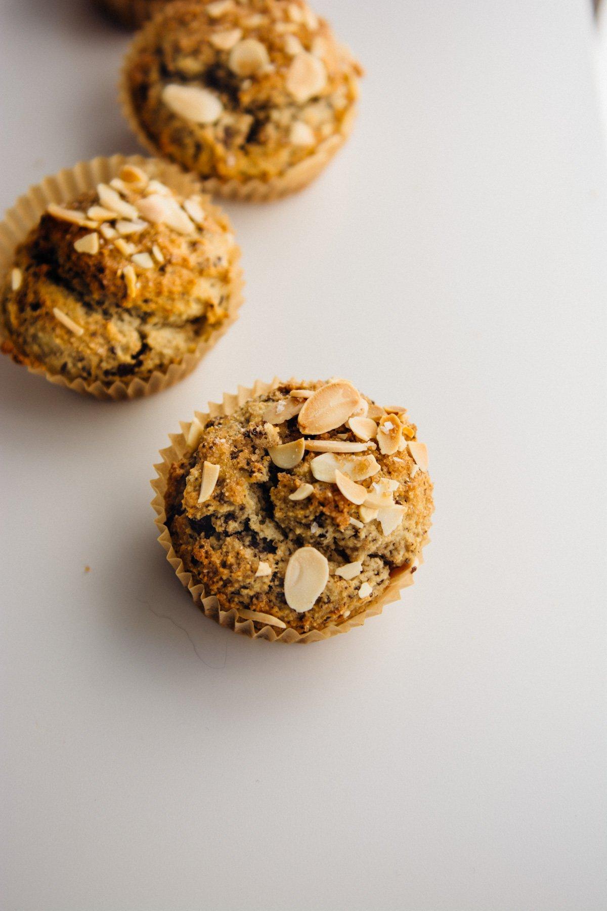 banana almond chocolate chip muffins (gluten- free + dairy-free) | scalingbackblog.com