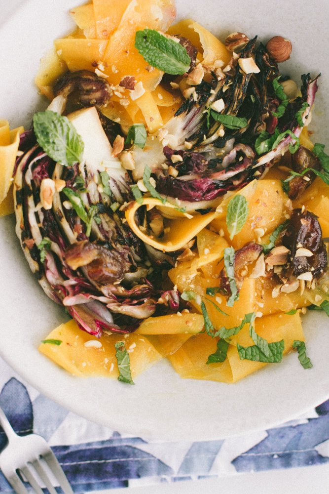 Shaved butternut radicchio salad with dates and hazelnuts {vegan, paleo + gluten-free} www.scalingbackblog.com